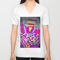 neon V-neck T-shirts featuring neon by gasponce