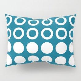 Mid Century Modern Circles And Dots Peacock Blue Pillow Sham