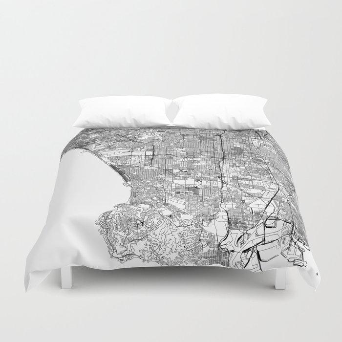 Los Angeles White Map Bettbezug