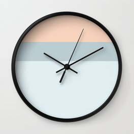 Modern  pastel coral blue color block stripes Wall Clock