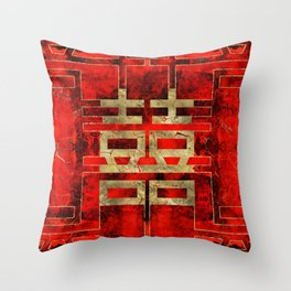 Double Happiness Symbol Geometric Gold on Red Paint Throw Pillow