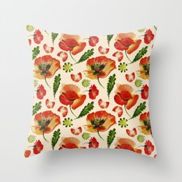 Chic Floral Poppy Flowers Watercolor Pattern Throw Pillow