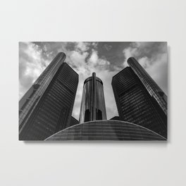 Renaissance Center in Black and White Metal Print