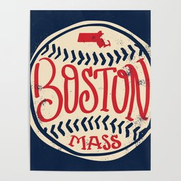 Hand Drawn Baseball for Boston with custom Lettering Poster