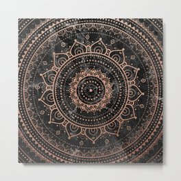 Mandala - rose gold and black marble Metal Print
