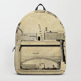 George Washington Bridge Construction Blueprint Backpack