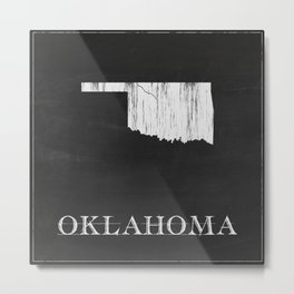 Oklahoma State Map Chalk Drawing Metal Print