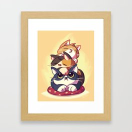 Cat Stack Doodle Framed Art Print