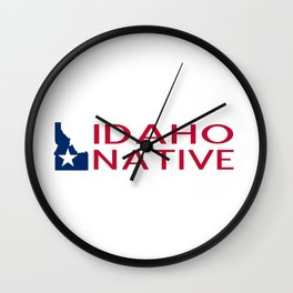 Idaho Native with Idaho Shape and Star Wall Clock