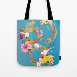 golden snake with flowers Tote Bag
