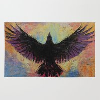 crow Area & Throw Rugs featuring Crow by Michael Creese