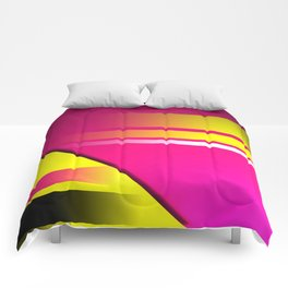 Hot Pink & Yellow Abstract Comforters