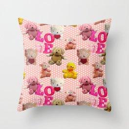 Love for Stuffed Friends Throw Pillow