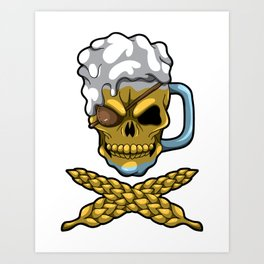 Beer Mug Skull - Brewery Pirate - Oktoberfest Art Print