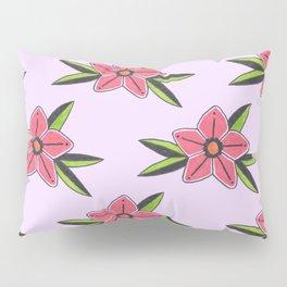 Old school tattoo flower pattern in lilac Pillow Sham