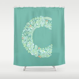 Floral Type - Letter C - Potted Cactus Shower Curtain