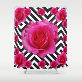 CONTEMPORARY  PINK ROSES B&W ABSTRACT Shower Curtain
