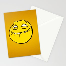 Meme Face Smiley Emoticon Yelow Funny Head Troll Stationery Cards