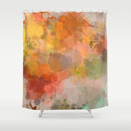 Modern contemporary Yellow Orange Abstract Shower Curtain