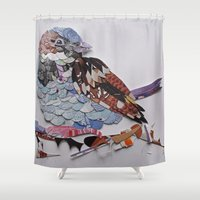 sparrow Shower Curtains featuring sparrow by Ruud van Koningsbrugge