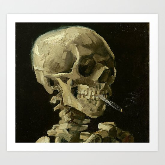 SKULL OF A SKELETON WITH BURNING CIGARETTE - VINCENT VAN GOGH by iconicpaintings