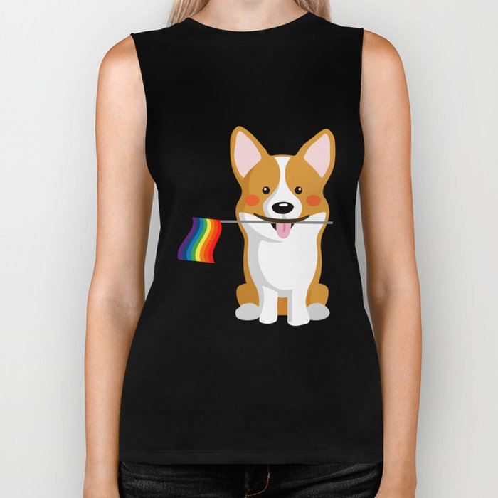 LGBT Gay Pride Flag Corgi - Pride Women Gay Men Biker Tank
