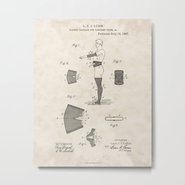 Elastic Bandage for Varicose Veins Vintage Patent Hand Drawing Metal Print