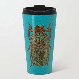 Egyptian Scarab Beetle - Leather & Gold on teal Travel Mug