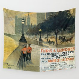 Paris a Londres, French Travel Poster Wall Tapestry
