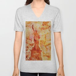 Watercolor painting of the iconic  Statue of Liberty in New York Harbor at sunset- New York City, US Unisex V-Neck