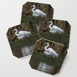 Great and Snowy Egrets, No. 3 Coaster