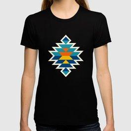 Bohemian large aztec diamonds blue pattern T-shirt