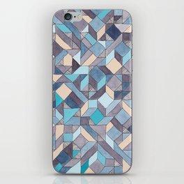 Shifitng Geometric Pattern in Blue iPhone Skin