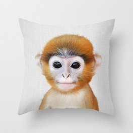 Baby Monkey - Colorful Throw Pillow