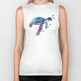 Sea Turtle, blue purple illustration children room cute turtle artwork Biker Tank