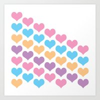 Heart Pattern Pastel Art Print