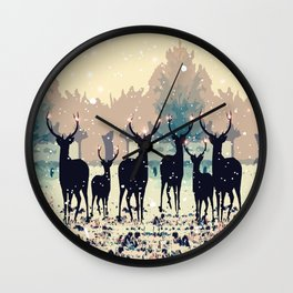 Deer in the snowy forest Wall Clock