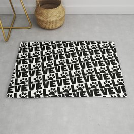 Dog Love - Black Dogs Paw on White Rug