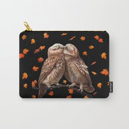 Autumn owls on black Carry-All Pouch