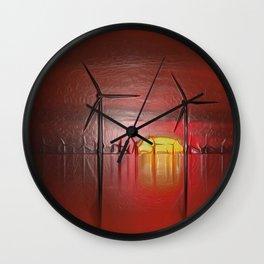 Windmills in the Sun (Digital Art) Wall Clock