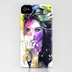 Milla fashion portrait girl watercolor tye and dye face iPhone (4, 4s) Slim Case