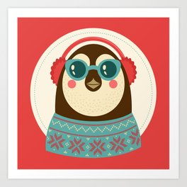 Holiday Hipster Pinguin Art Print