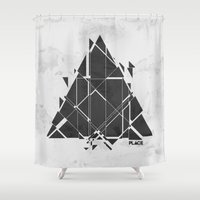 edm Shower Curtains featuring PLACE Triangle V2 by Sitchko Igor