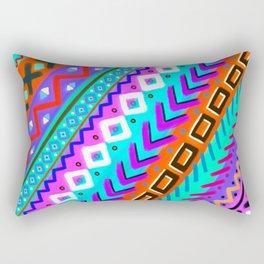 Painted Tribal Multi-Color Rainbow Rectangular Pillow