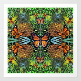 MONARCH BUTTERFLY PINEAPPLE ABSTRACT PATTERN Art Print