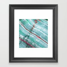 Jade Mint Marble Paint Abstract  Framed Art Print