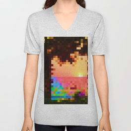 Sea view in bright color. Low poly style. Unisex V-Neck