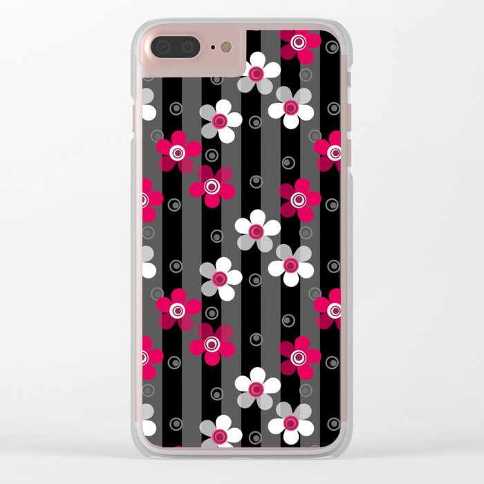 Crimson and white flowers on a black striped background Clear iPhone Case