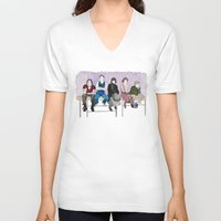 breakfast club V-neck T-shirts featuring The Breakfast Club by DJayK