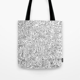 Graffiti Black and White Pattern Doodle Hand Designed Scan Tote Bag
